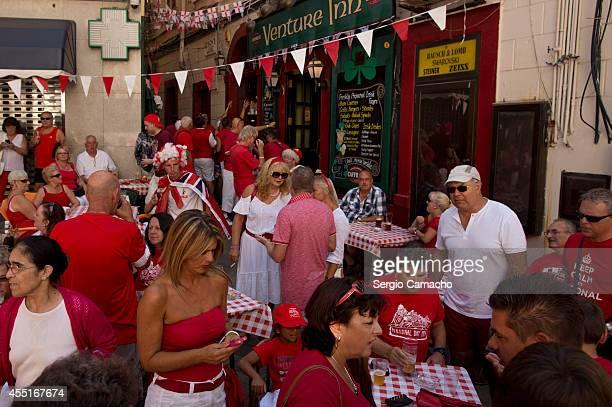 Gibraltarians in a pub before Gibraltar National Day celebrations on September 10 2014 in Gibraltar The official Gibraltar National Day events begin...