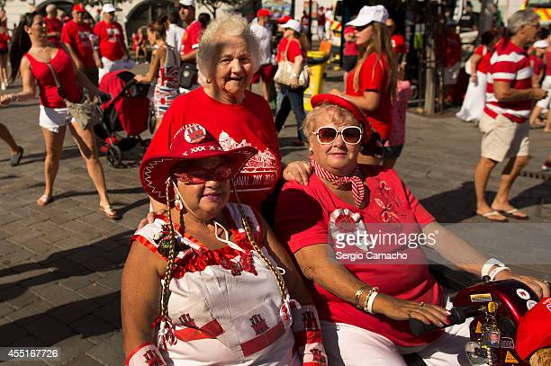Gibraltarians women poses during Gibraltar National Day celebrations on September 10 2014 in Gibraltar The official Gibraltar National Day events...