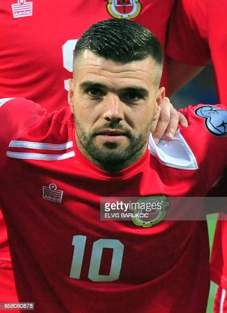 Gibraltar's Liam Walker poses before the FIFA World Cup 2018 qualification football match between Bosnia and Herzegovina and Gibraltar in Zenica on...