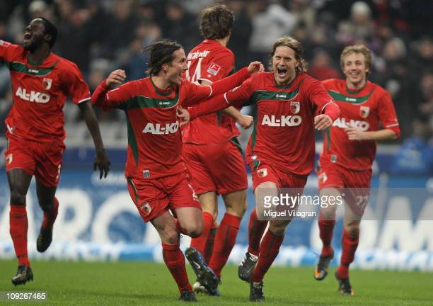 Gibril SankohPaul Vergaegh Kees Kwakman Marcel de Jong and Michael Thurk of FC Augsburg celebrate their side's second goal during the second...