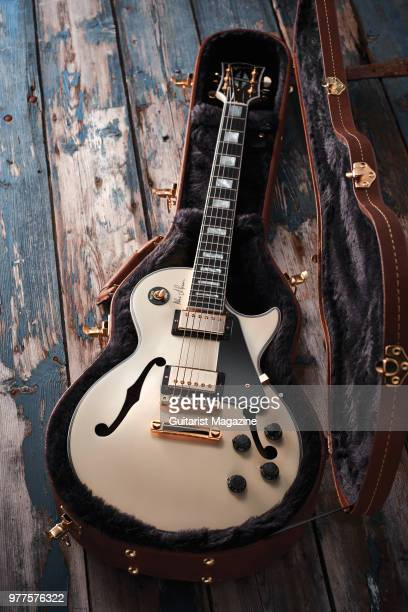 A Gibson Alex Lifeson ESLes Paul electric guitar with a Classic White finish taken on May 25 2017