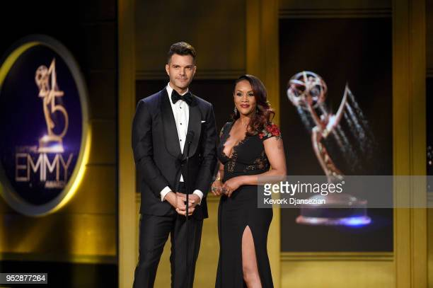 Gibson and Vivica A Fox speak onstage during the 45th annual Daytime Emmy Awards at Pasadena Civic Auditorium on April 29 2018 in Pasadena California