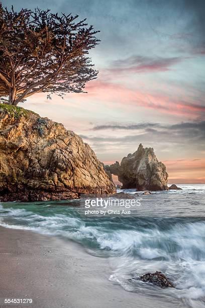 gibson beach at point lobos - carmel california stock photos and pictures