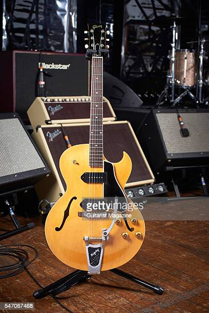Gibson ES225 electric guitar belonging to English rock musician Richard Hawley photographed before a live performance at the Colston Hall in Bristol...