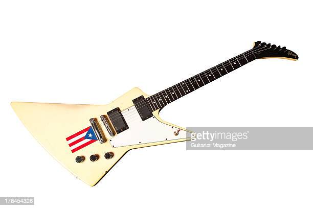 Gibson Explorer electric guitar used by Claudio Sanchez of American progressive rock band Coheed and Cambria photographed during a shoot for...