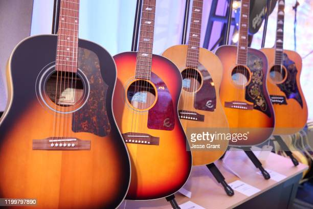Gibson guitars on display at The 2020 NAMM Show Media Preview Day on January 15 2020 in Anaheim California