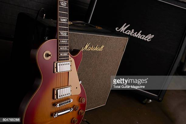 A Gibson Les Paul electric guitar and Marshall amplifier taken on June 4 2015