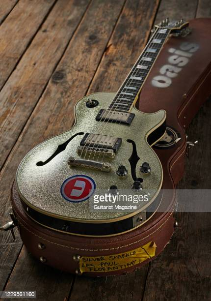 Gibson Les Paul Florentine electric guitar with a Silver Sparkle finish previously owned by Oasis guitarist Noel Gallagher, taken on November 15,...