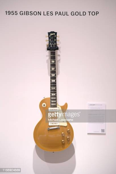 Gibson Les Paul Gold Top part of The David Gilmour Guitar Collection displayed during a press preview at Christie's on June 14 2019 in New York City
