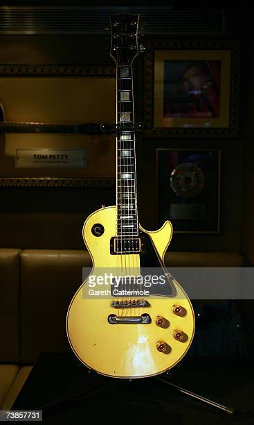 Gibson Les Paul guitar owned by The Edge of U2 goes on display at The Icons Of Music Auction Benefiting Music Rising held at The Hard Rock Cafe on...