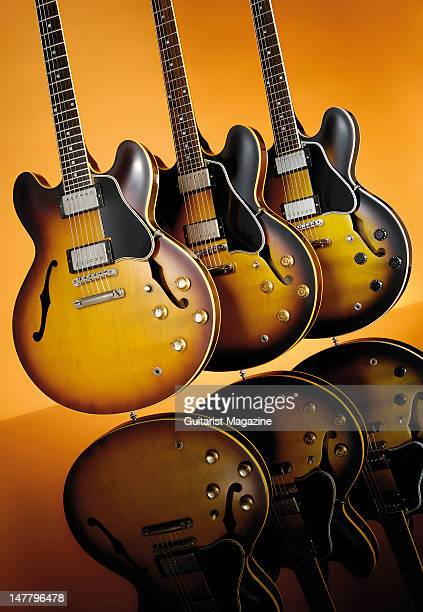 Gibson Original 1961 ES335 2008 '58 ES335 and Custom ES335 electric guitars during a studio shoot for Guitarist Magazine/Future via Getty Images...