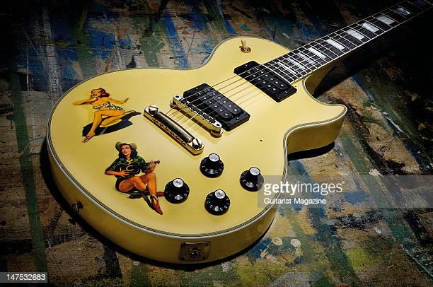 A Gibson Steve Jones Les Paul Custom electric guitar during a studio shoot for Guitarist Magazine December 8 2008