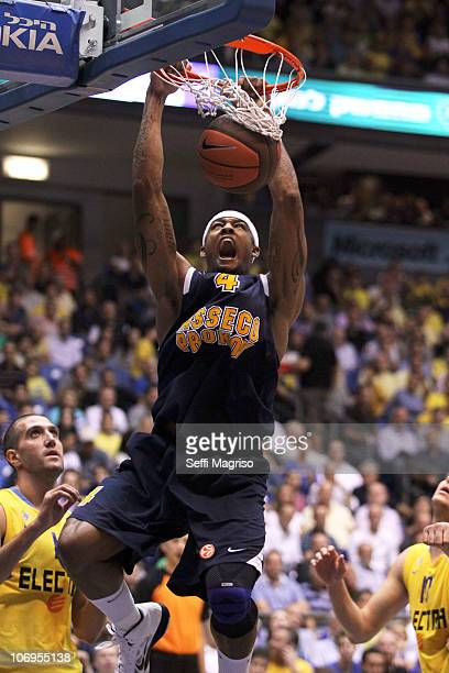 Giddens of Asseco Prokom in action during the Turkish Airlines Euroleague Date 5 game between Maccabi Electra Tel Aviv and Asseco Prokom Gdynia at...