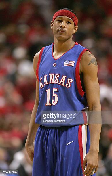 Giddens of the Kansas Jayhawks stands on the court during the game against the Texas Tech Red Raiders on February 14, 2005 at the United Spirit Arena...
