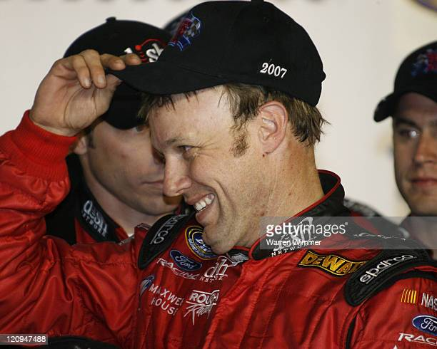 A giddy Matt Kenseth in Victory Lane after he won the Stater Brothers 300 NASCAR BUSCH SERIES being run at California Speedway Fontana Ca Feb 24 2007...
