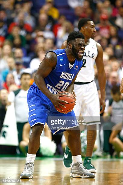 Giddy Potts of the Middle Tennessee Blue Raiders reacts after a play in the second half against the Michigan State Spartans during the first round of...