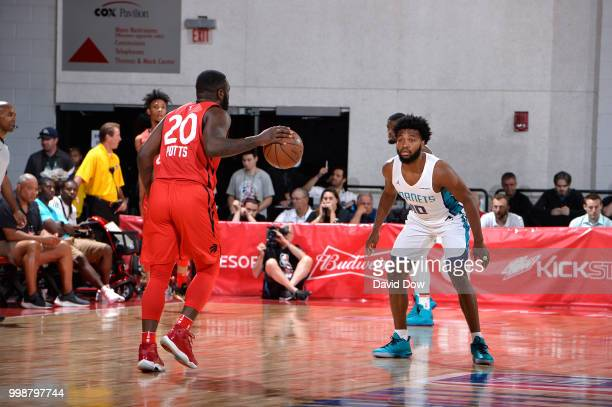 Giddy Potts of the Toronto Raptors shoots the ball against the the Charlotte Hornets during the 2018 Las Vegas Summer League on July 14 2018 at the...