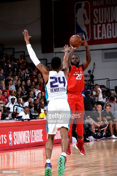Giddy Potts of the Toronto Raptors shoots the ball against the Charlotte Hornets during the 2018 Las Vegas Summer League on July 14 2018 at the Cox...