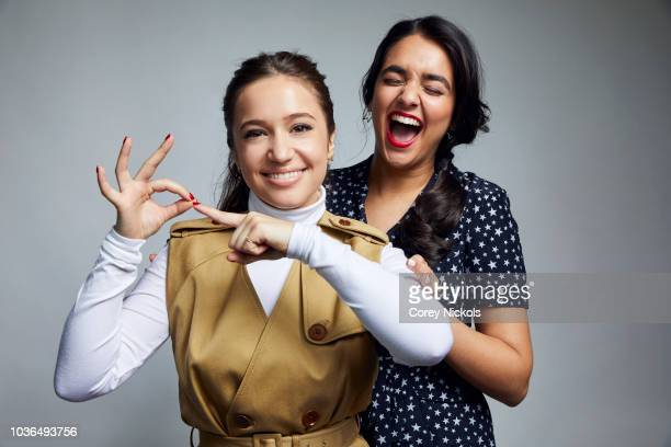 Gideon Adlon and Geraldine Viswanathan from the film 'Blockers' pose for a portrait in the Getty Images Portrait Studio Powered by Pizza Hut at the...