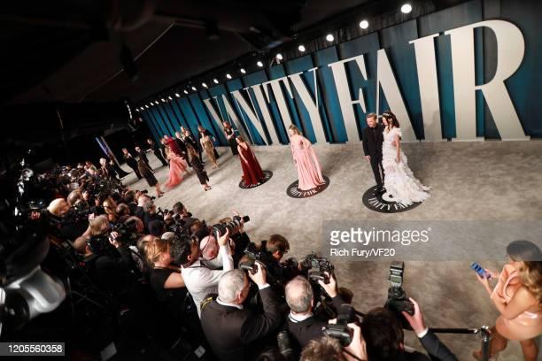 Gideon Adlon Halston Sage Chris Hardwick and Lydia Hearst attend the 2020 Vanity Fair Oscar Party hosted by Radhika Jones at Wallis Annenberg Center...