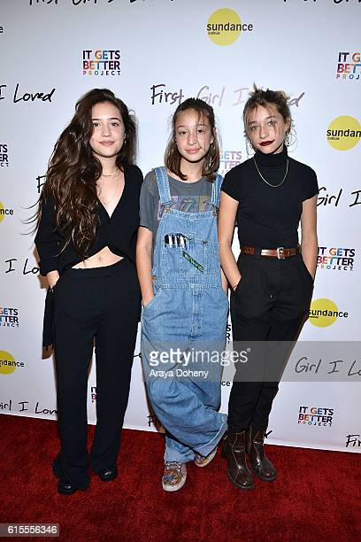 Gideon Adlon Rockie Adlon and Odessa Adlon attend the premiere of PSH Collective's First Girl I Loved at the Vista Theatre on October 18 2016 in Los...
