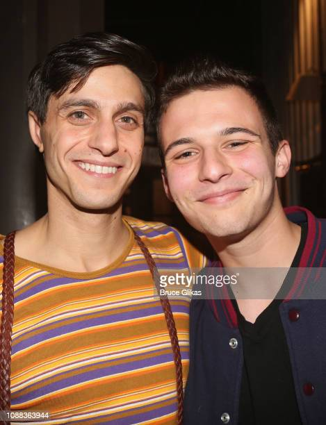 Gideon Glick as Dill Harris and Gun Control Activist/CoFounder of Never Again MSD/CoFounder of March for Our Lives Cameron Kasky pose backstage at...
