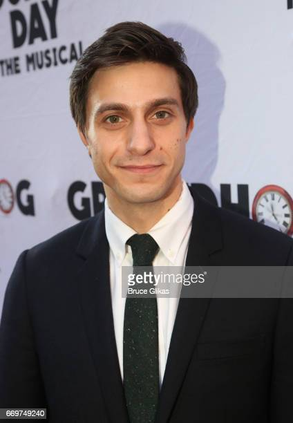 Gideon Glick poses at the opening night of the new musical based on the film Groundhog Day on Broadway at The August Wilson Theatre on April 17 2017...