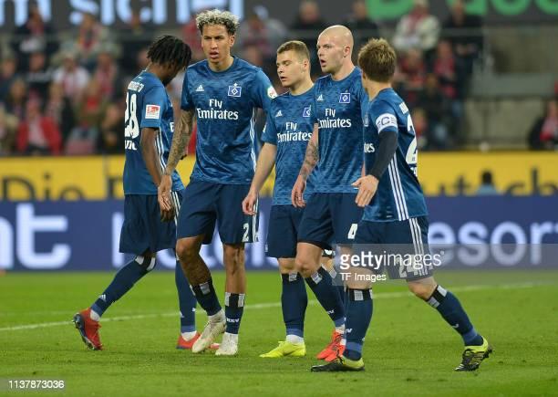 Gideon Jung of Hamburger SV Leo Lacroix of Hamburger SV Vasilije Janjicic of Hamburger SV Rick van Drongelen of Hamburger SV and Gotoku Sakai of...