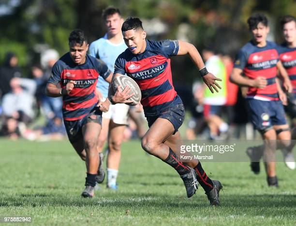 Gideon Kautai of Hastings Boys High School makes a break and scores a try during the Schools Super 8 match between Hastings Boys High and Napier Boys...