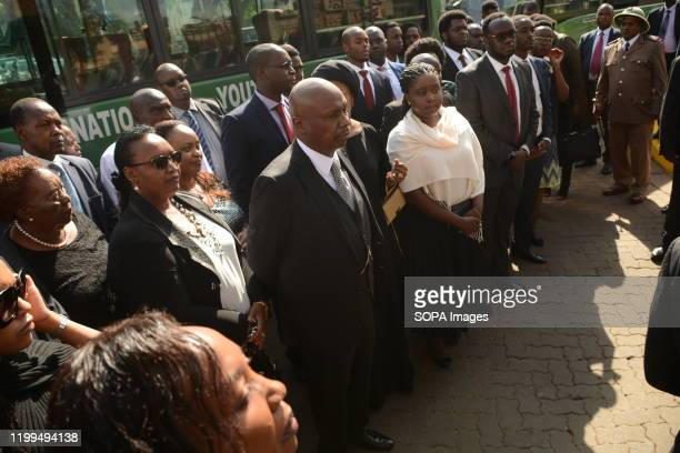 Gideon Moi the son of the late former President of Kenya Daniel Arap Moi arrives at the Parliament building to see the body of his father in Nairobi...