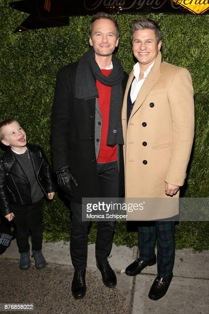 Gideon Scott Burtka-Harris, and actors Neil Patrick Harris and David Burtka attend the 2017 Saks Fifth Avenue Holiday Window Unveiling And Light Show...