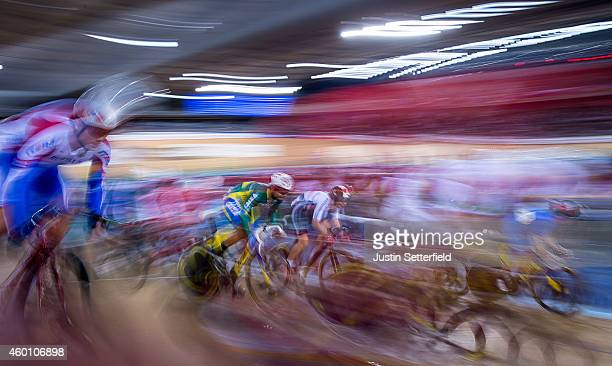 Gideoni Monteiro of Brazil competes during the Men's Omnium on day three of the UCI Track Cycling World Cup at the Lee Valley Velopark Velodrome on...