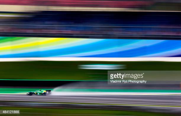Giedo van der Garde of Netherlands and Caterham drives his CT03 during practice for the Brazilian Formula One Grand Prix at Autodromo Jose Carlos...