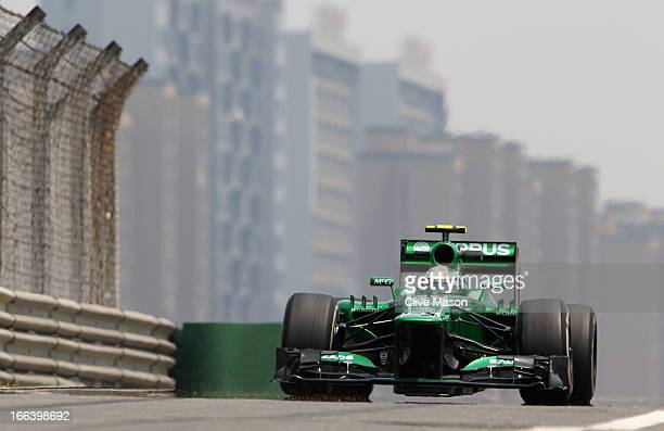 Giedo van der Garde of the Netherlands and Caterham drives during practice for the Chinese Formula One Grand Prix at the Shanghai International...