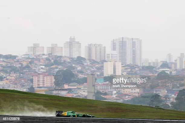 Giedo van der Garde of The Netherlands and Caterham drives during practice for the Brazilian Formula One Grand Prix at Autodromo Jose Carlos Pace on...
