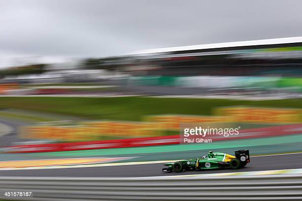 Giedo van der Garde of The Netherlands and Caterham drives during qualifying for the Brazilian Formula One Grand Prix at Autodromo Jose Carlos Pace...