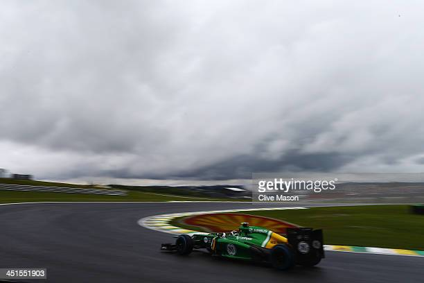 Giedo van der Garde of The Netherlands and Caterham drives during the final practice session prior to qualifying for the Brazilian Formula One Grand...