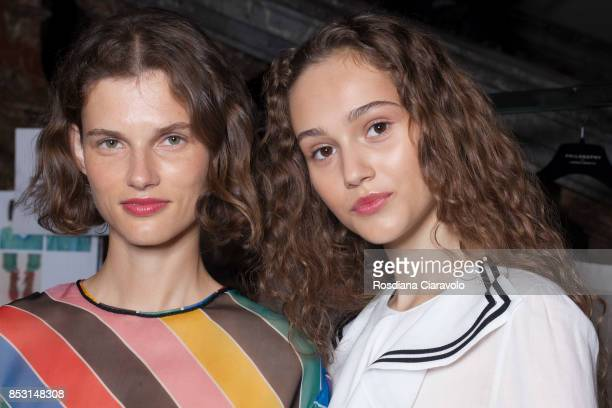 Giedre Dukauskaite and Michelle Gutknecht are seen backstage ahead of the Philosophy By Lorenzo Serafini show during Milan Fashion Week Spring/Summer...