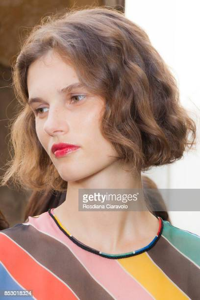 Giedre Dukauskaite is seen ahead of the Philosophy By Lorenzo Serafini show during Milan Fashion Week Spring/Summer 2018 on September 23 2017 in...