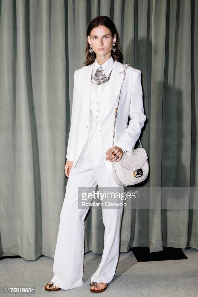 Giedre Dukauskaite poses at backstage for Etro fashion show during the Milan Fashion Week Spring/Summer 2020 on September 20 2019 in Milan Italy