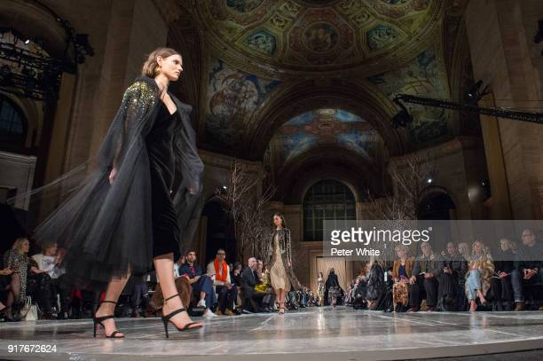 Giedre Dukauskaite walks the runway at Oscar De La Renta fashion show during February 2018 New York Fashion Week at The Cunard Building on February...