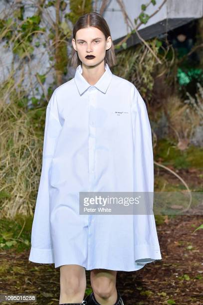 Giedre Dukauskaite walks the runway during OffWhite Menswear Fall/Winter 20192020 show as part of Paris Fashion Week on January 16 2019 in Paris...