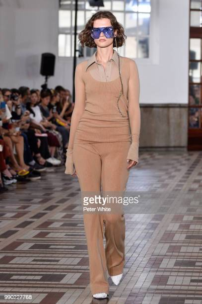 Giedre Dukauskaite walks the runway during the Acne Studios Womenswear Spring Summer 2019 during the Paris Fashion Week on July 1 2018 in Paris France