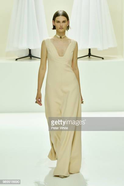 Giedre Dukauskaite walks the runway during the Christian Dior Haute Couture Fall Winter 2018/2019 show as part of Paris Fashion Week on July 2 2018...