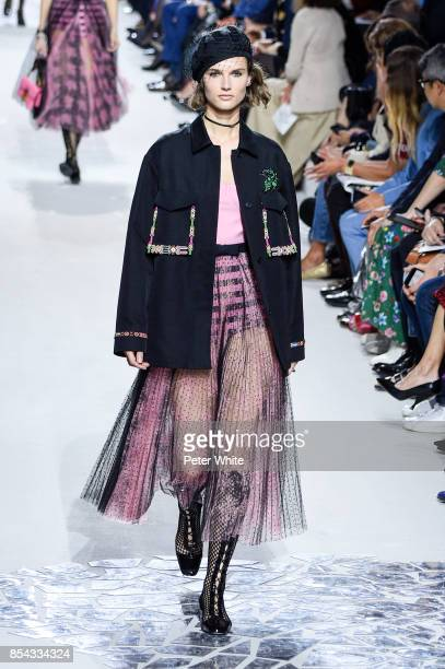 Giedre Dukauskaite walks the runway during the Christian Dior show as part of the Paris Fashion Week Womenswear Spring/Summer 2018 on September 26...