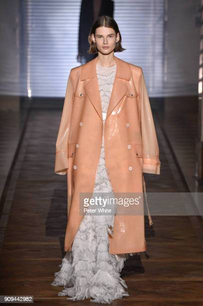 Giedre Dukauskaite walks the runway during the Givenchy Spring Summer 2018 show as part of Paris Fashion Week on January 23 2018 in Paris France