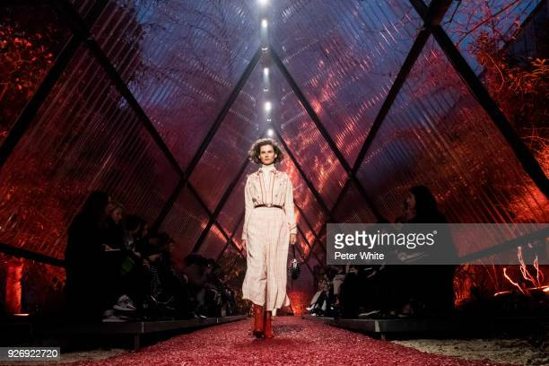 Giedre Dukauskaite walks the runway during the Hermes show as part of the Paris Fashion Week Womenswear Fall/Winter 2018/2019 on March 3 2018 in...