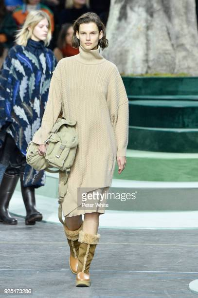 Giedre Dukauskaite walks the runway during the Lacoste show as part of the Paris Fashion Week Womenswear Fall/Winter 2018/2019 on February 28 2018 in...