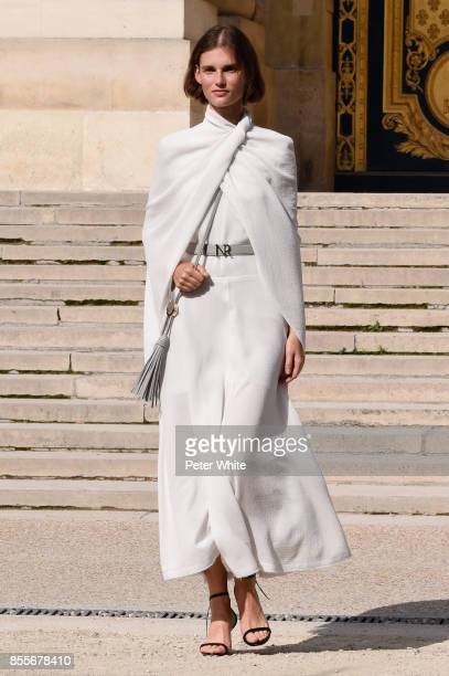 Giedre Dukauskaite walks the runway during the Nina Ricci show as part of the Paris Fashion Week Womenswear Spring/Summer 2018 on September 29 2017...