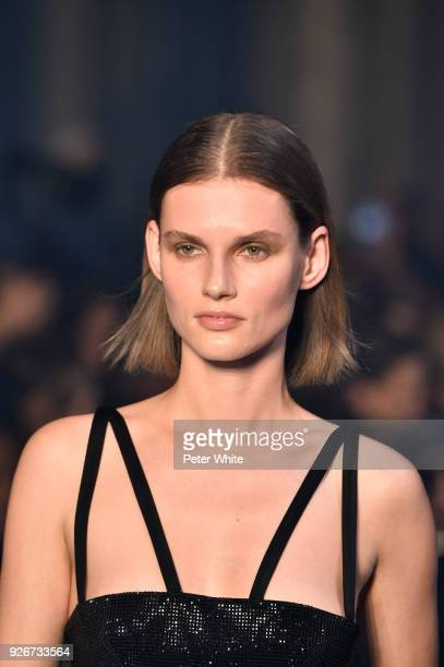 Giedre Dukauskaite walks the runway during the OffWhite show as part of the Paris Fashion Week Womenswear Fall/Winter 2018/2019 on March 1 2018 in...